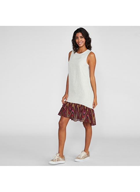 Vekem-Limited Edition Sıfır Yaka Kolsuz Keten Elbise Bej